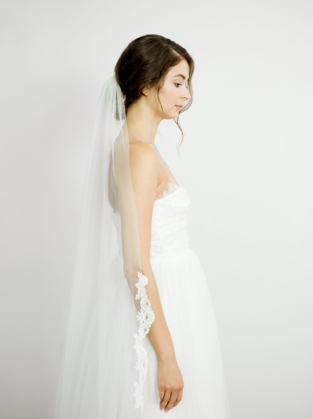 """SIBO Designs 2018 Collection - """"Style 714"""" Corded Lace Draped Bridal Veil www.sibodesigns.com"""