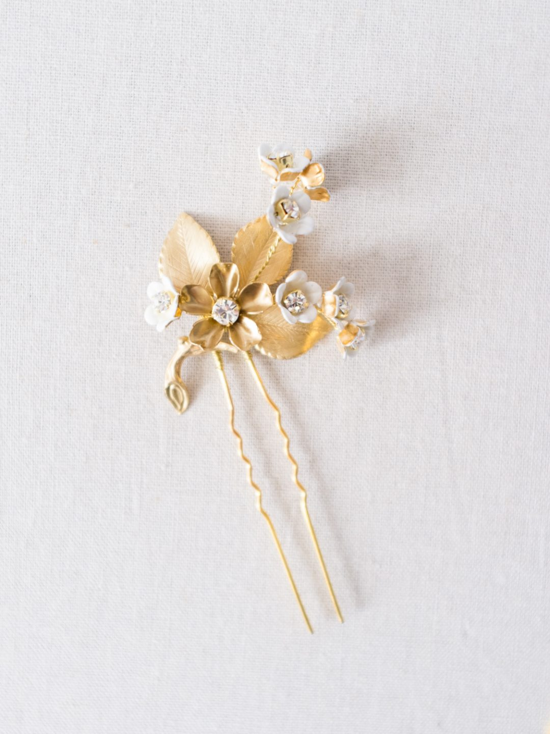 """SIBO Designs 2018 Collection - """"Style 725"""" Gold Floral Bridal Hair Pins www.sibodesigns.com"""