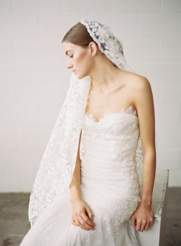 Couture Floral Mantilla Bridal Veil by SIBO Designs Couture