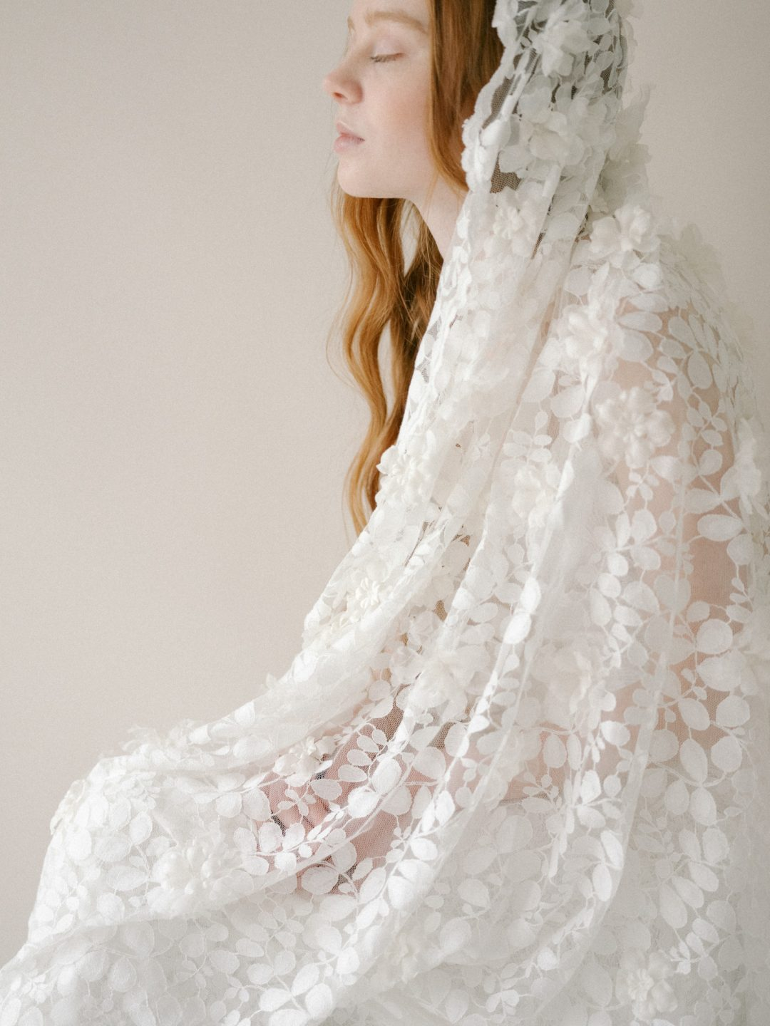 Style 805 - LACE MANTILLA BRIDAL VEIL by SIBO Designs Couture www.sibodesigns.com