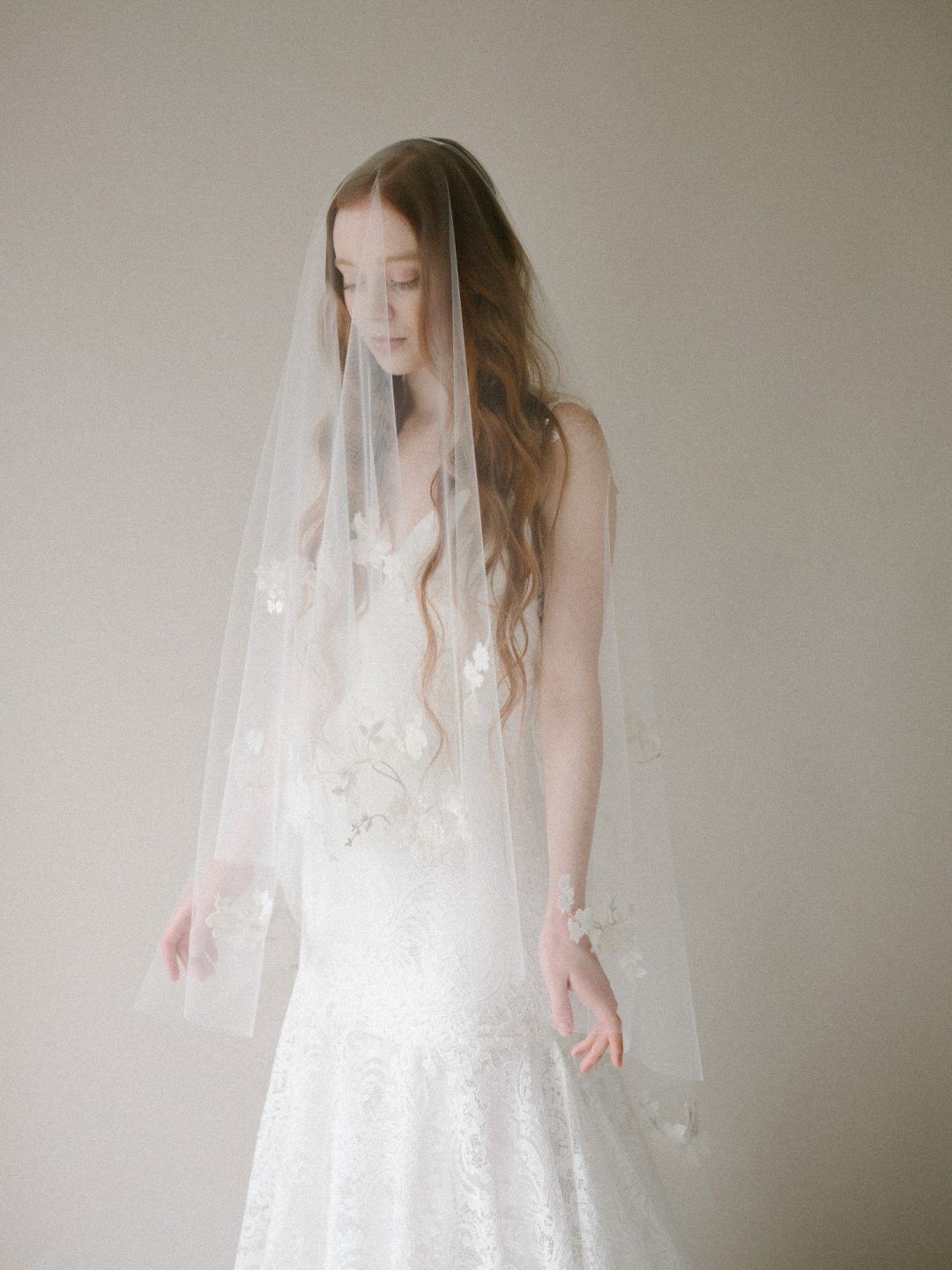 Style 804 - SILK PETAL BLUSHER BRIDAL VEIL by SIBO Designs Couture www.sibodesigns.com