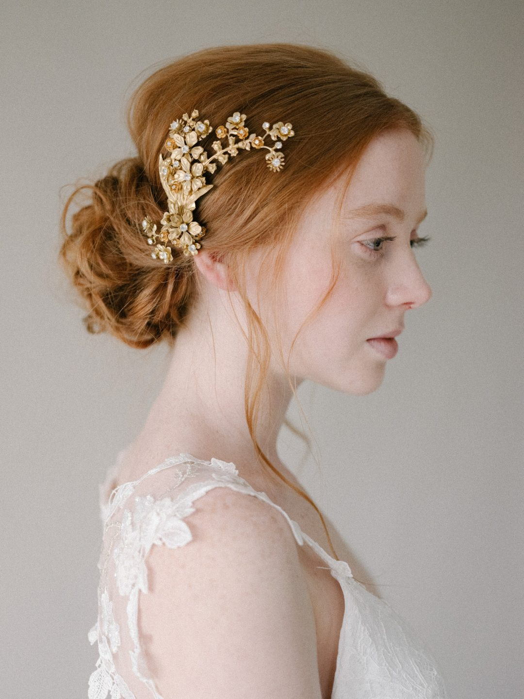 Style 814 - GOLD FLORAL BRIDAL HEADPIECE by SIBO Designs Couture www.sibodesigns.com