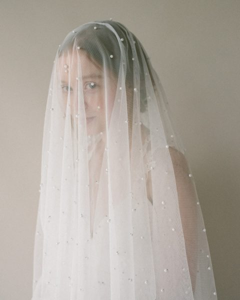 Style 817 - PEARL TULLE BRIDAL VEIL by SIBO Designs Couture www.sibodesigns.com