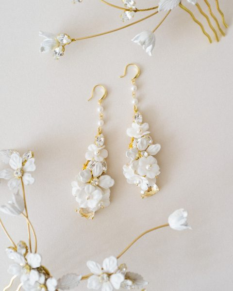Ivory Pearl Drop Bridal Earrings - Style 820 - SIBO Designs www.sibodesigns.com