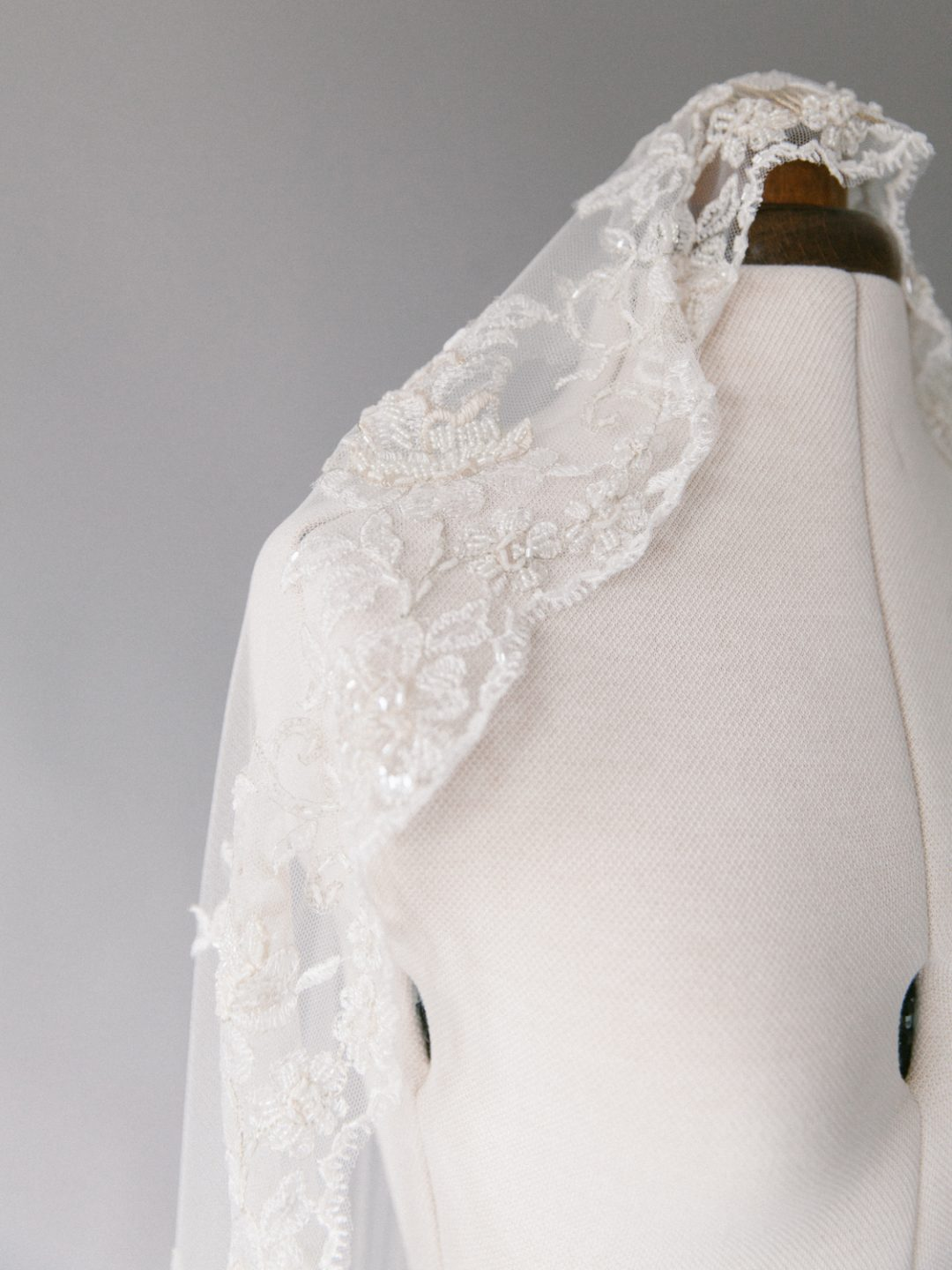 Champagne Lace Mantilla Veil - Style 711 - SIBO Designs www.sibodesigns.com