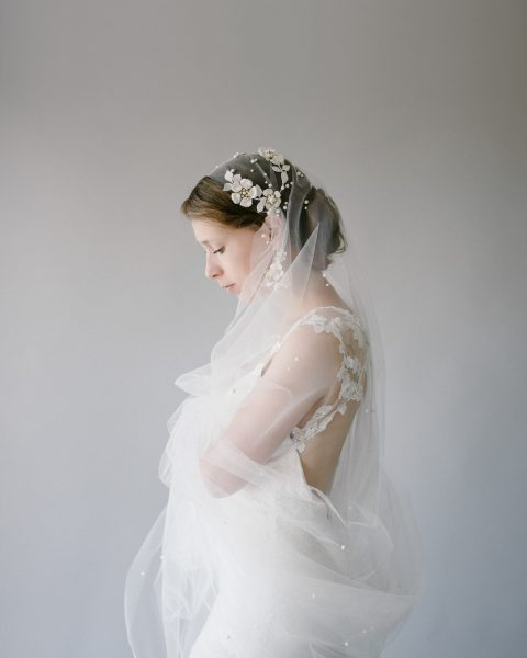 Style 904 - Pearl Veil & Juliet Cap Bridal Headpiece - by SIBO Designs Couture www.sibodesigns.com