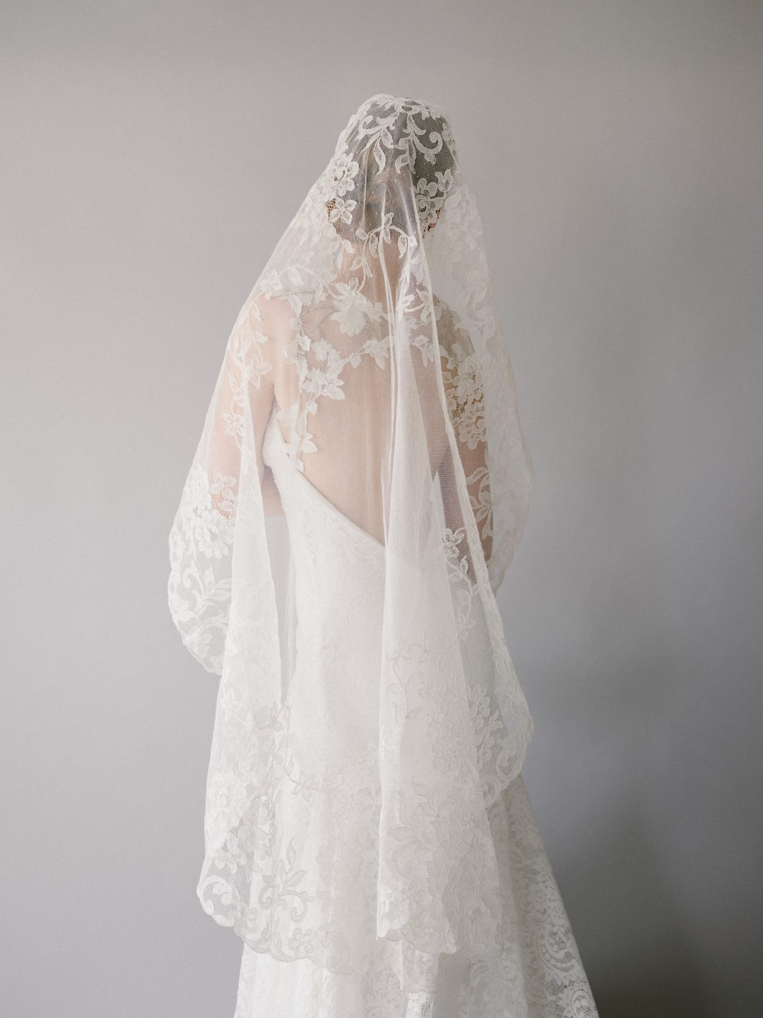 Style 905 - Lyon Lace Mantilla Bridal Veil - by SIBO Designs Couture www.sibodesigns.com