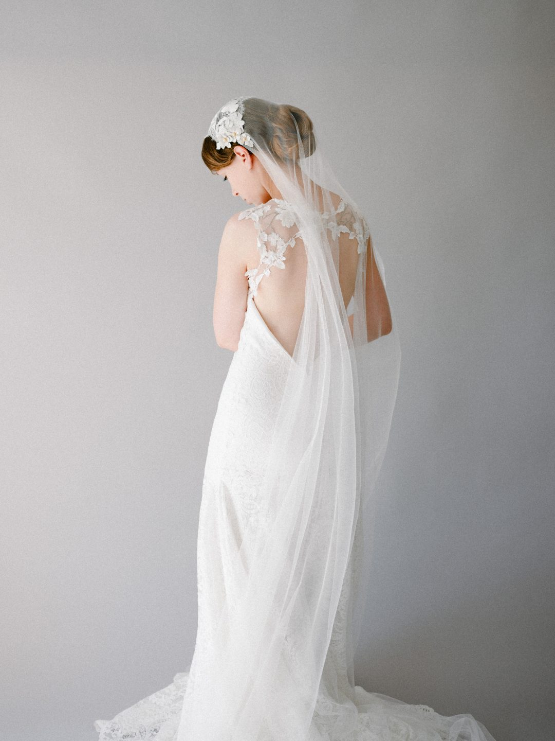 Style 907 - Chantilly Lace Juliet Cap Veil - by SIBO Designs Couture www.sibodesigns.com