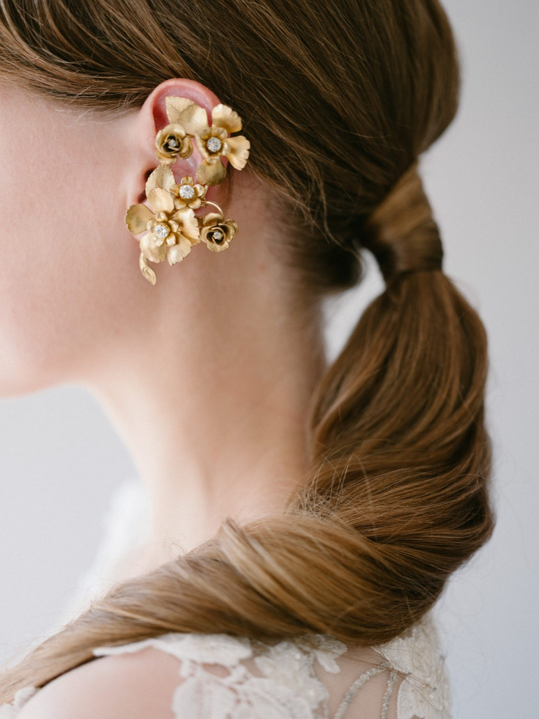Style 910 - Floral Bridal Ear Cuff - by SIBO Designs Couture www.sibodesigns.com
