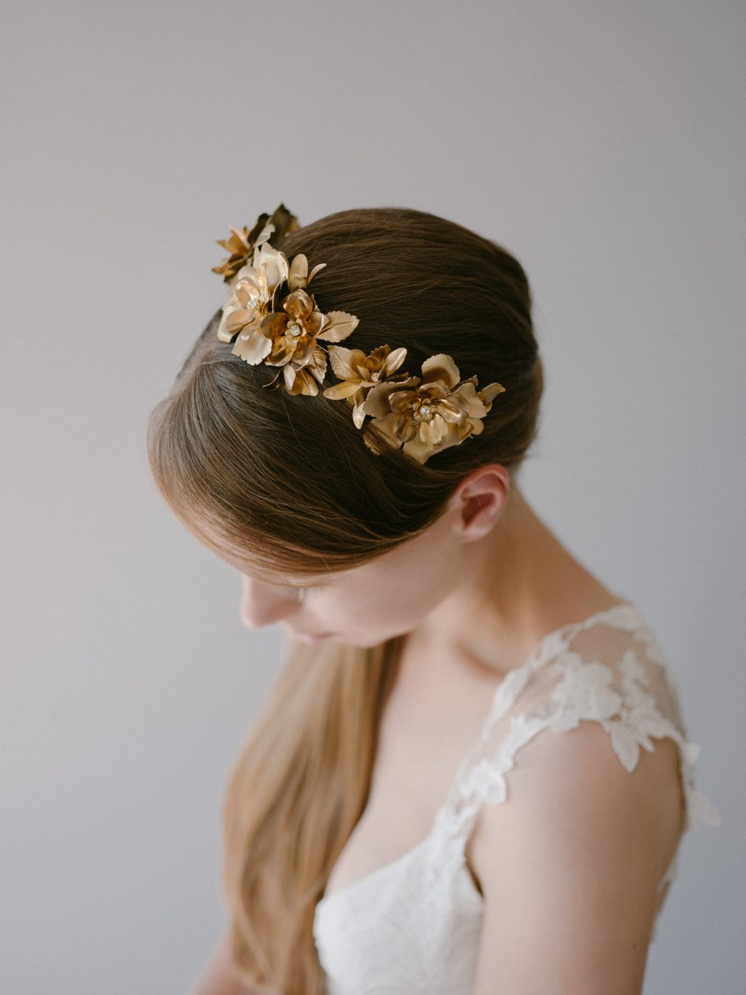 Style 913 - Brass Floral Bridal Crown - by SIBO Designs Couture www.sibodesigns.com